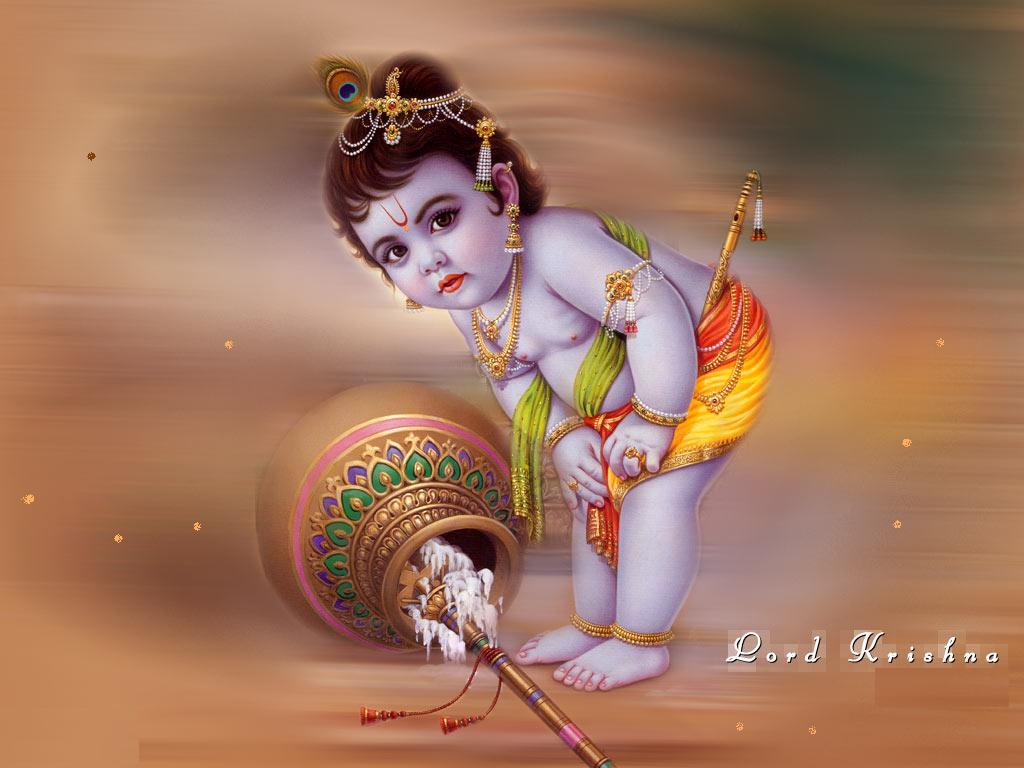 Baby Krishna with makhan gamla
