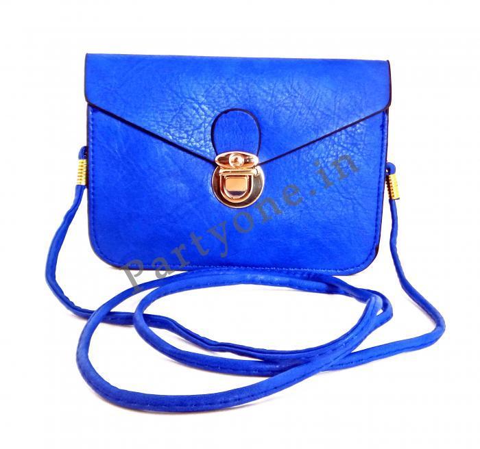 Birthday Return Gifts Girls Art Leather Plain Sling Bag Blue Assorted Designs