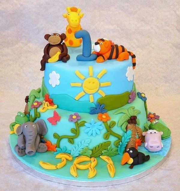 Safari Theme Birthday Cake Jungle Design